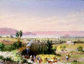 A View of Mexico City with an Encampment 1878