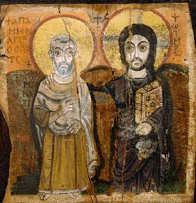 Icon depicting Abbott Mena with Christ, from Baouit 6th-7th Jh