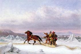 Crossing the St. Lawrence from Levis to Quebec on a Sleigh