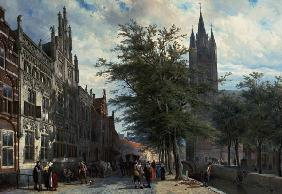 The Gemeenlandshuis and the Old Church, Delft, Summer. 1877