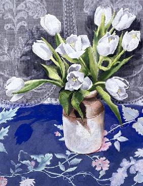 White Tulips, 1994 (pastel on paper)
