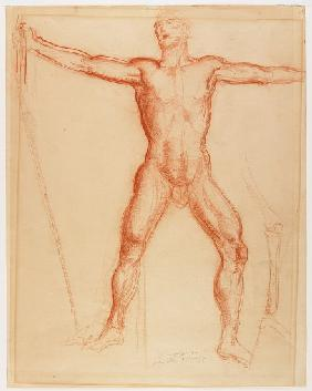 Study for the figure of John Brown in the Tragic Prelude mural for the Kansas Statehouse 1940