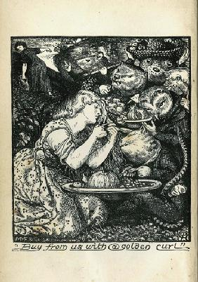 "Frontispiz für ""Goblin Market and Other Poems"" von Christina Rossetti"