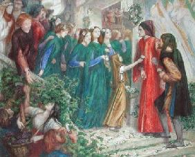Beatrice Meeting Dante at a Marriage Feast Denies Him Her Salutation 1860's