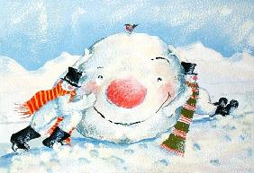 Building a Snowman (gouache on paper)