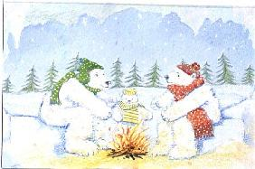 Polar Bears around the Camp Fire