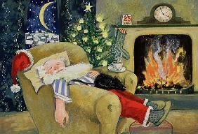 Santa sleeping by the fire, 1995