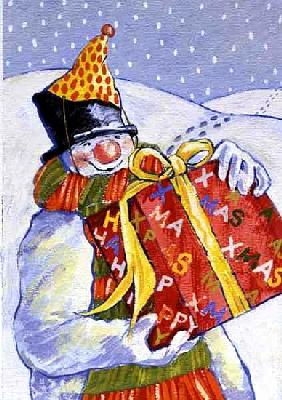 Snowman Delivering Presents, 1999 (gouache on paper)