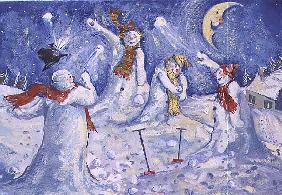 Snowmen throwing snowballs, 1995