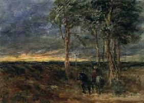 Travellers Approaching a Signpost on a Heath 1851  on