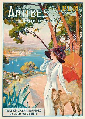 Poster advertising travel to the Antibes, Cote d'Azur, with the French railway company P.L.M c.1910