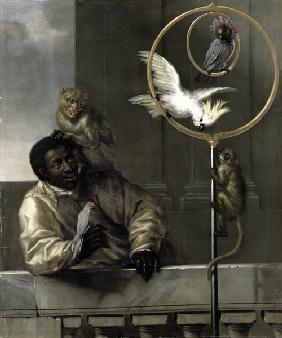 Negro with Parrots and Monkeys 1670