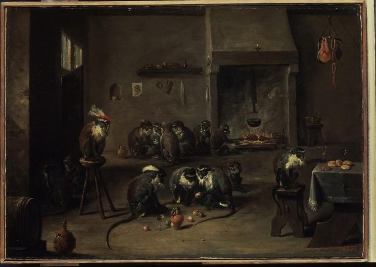 Affen in einer Küche - David Teniers als Kunstdruck oder ...