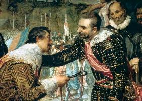 The Surrender of Breda (1625), detail of Justin de Nassau handing the keys over to Ambroise Spinola c.1635