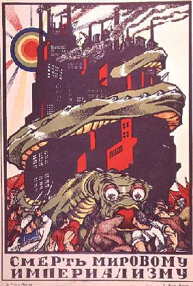 Poster depicting a monster wrapped round a city, from The Russian Revolutionary Poster by V. Polonsk 1925