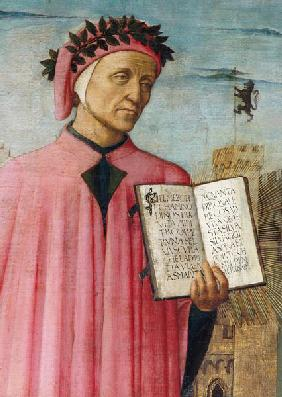 Dante reading from the 'Divine Comedy', detail of Dante Alighieri (1265-1321) 1465
