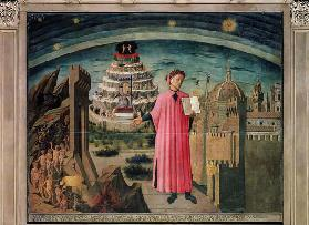 Dante and his poem the 'Divine Comedy', 1465 (tempera on panel) 16th