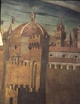 Detail depicting Florence Cathedral, from a fresco of Dante with the 'Divinia Commedia' in the north 1465