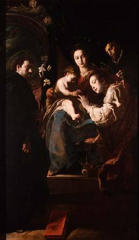 Mystical marriage of St. Catherine and the Christ Child with Peter the Martyr 1617-21