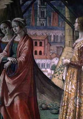 The Visitation, detail of the city and women, from the Life of St. John the Baptist 1490