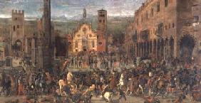 The Expulsion of the Bonacolsi in 1328 in Piazza Sordello, Mantua 1494