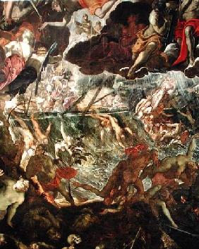 The Last Judgement, detail of the damned in the River Styx and Charon's boat full of passengers before 156