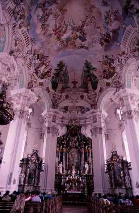 Rococo interior of the church, designed - Dominidus Zimmerman als ...
