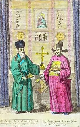 Matteo Ricci (1552-1610) and another Christian missionary to China, from ''China Illustrated'' Athan