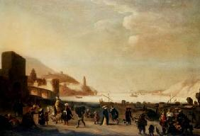 A port with street vendors and peasants in the foreground (panel)