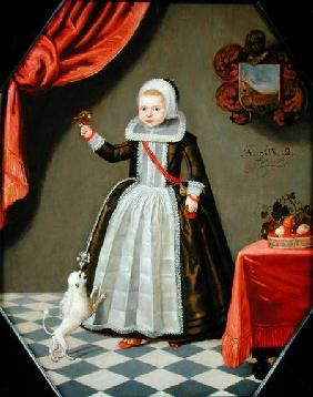 Portrait of a Young Girl with a Bird on her Finger and a Dog at her Feet 1632