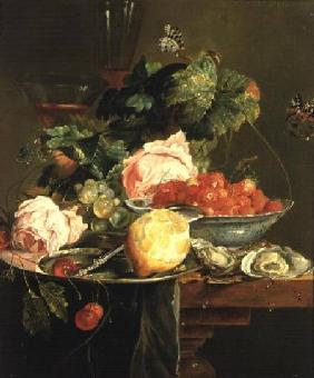 Still Life of Roses, Oysters, Strawberries in a Porcelain Bowl and Other Fruits on Pewter Ware c.1820