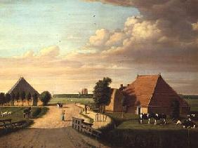 A study of Leevwarden in Holland with a herd of Friesian cattle in the foreground