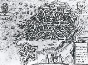Map of Antwerp, 1598 (engraving) (b/w photo) 1787