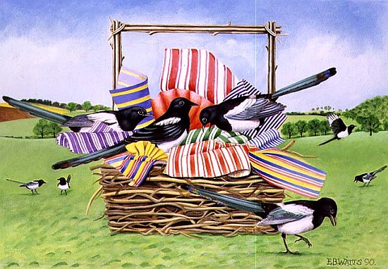 magpies 1990 acrylic e b watts als kunstdruck oder handgemaltes gem lde. Black Bedroom Furniture Sets. Home Design Ideas