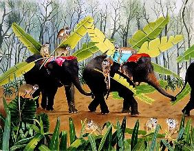 Elephant and Monkeys with Banana Leaves