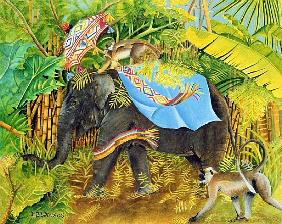 Elephant with Monkeys and Parasol