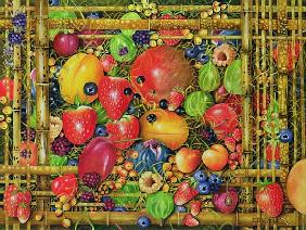 Fruit in Bamboo Box, 1999 (acrylic on canvas)
