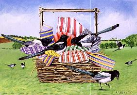 Magpies, 1990 (acrylic)