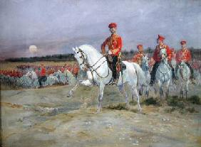 Tsarevich Nicolas (1894-1917) Reviewing the Troops 1899