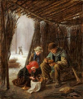 Kunstdruck von Edouard Frère - The Woodcutter's Meal