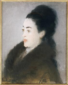 Woman in a Fur Coat in Profile, 1879 (oil & pastel on canvas)