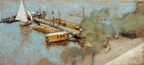 Jetty on the Aussenalster, 1913 (pastel on card)