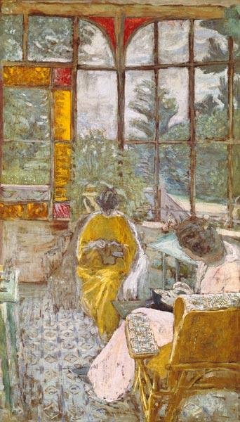 Two Women Embroidering on a Veranda 1912