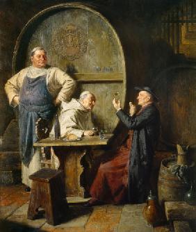 Three Monks Drinking Wine Painting