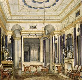 The Drawing Room of the Empress Maria Alexandrovna in the Great Palais in Tsarskoye Selo (w/c, gouac