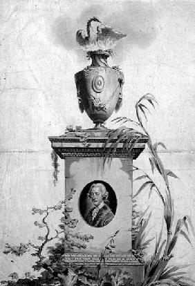 Design for the title page of the collected works of Dr Thomas Arne (1710-78) (ink and wash)