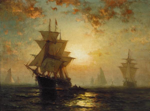 Segelschiffe auf dem meer sonnenuntergang  Segelschiffe bei Sonnenuntergang - Edward Moran als Kunstdruck ...