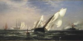 American yacht Sappho winning the race with the English yacht Livonia for the America Cup 1871