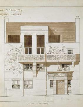Front Elevation of Studio and House for Frank Miles (1852-91), Tite Street, Chelsea 1878-79