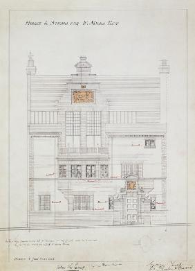 Working drawing for House and Studio for F. Miles Esq, Tite Street, Chelsea 1878-79